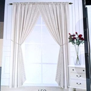 CURTAINS SET 6 PIECES ROD POCKET ROD TIEBACKS